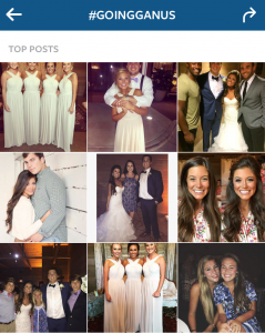 """#GoingGanus"" wedding hashtag used by former UGA football player Jake Ganus and wife Peyton Thomas (via instagram)"